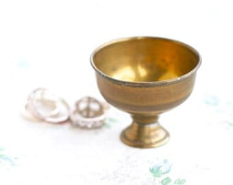 Brass Footed Ring Holder - Small Trinket Dish cup - Bowl Shaped Ring holder
