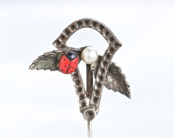 Antique Hat Pin with Tiny Ladybug - Dark Silver Stick Pin