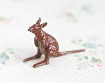 lead Kangaroo - Antique Iron Cast Wild Animal Toy Figurine