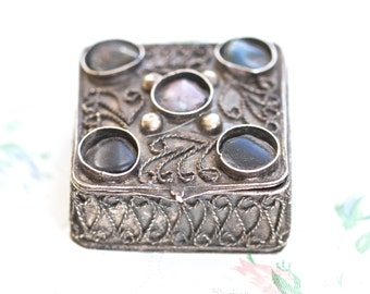Dark Silver Pill Box - Ornate Boho Square Snuff Box