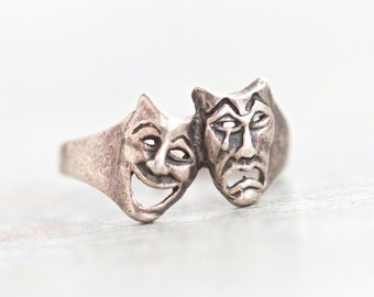Drama Time Ring - Sterling Silver Oxidized - Tiny Masks Brass Ring Size 6.5 - Theatre Lover