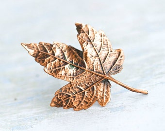 Copper Leaf Lapel Pin - Crunchy Brooch - Autumn Delight