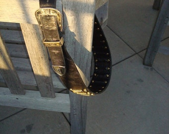 Black leather western glam belt