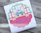 Peeking Easter Bunny Girl Scallop Applique Design Machine Embroidery INSTANT DOWNLOAD