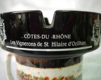 FRANCE ASHTRAY Cotes-Du-Rhone Les Vignerons de St. Hilaire d'Ozilhan