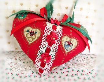 "Christmas Heart Christmas Heart Ornament 5"" Heart Decoration Door Hanger Christmas Ornament, Handmade CharlotteStyle Decorative Folk Art"