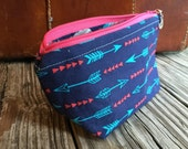Small cotton lined cosmetic pouch/ make-up bag/Bird Zipper pull