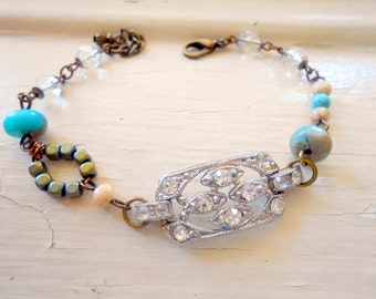Rhinestone Boho Bracelet, Assemblage Jewelry, Paste, Pot Metal, Turquoise, Bohemian, Eclectic, Rustic,Repurposed Vintage, Upcycled, Recycled