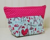 Paris Theme Cosmetic Bag - Eiffel Tower Stand up Makeup Bag - Pink Hearts Toiletries Zipper Pouch - Small Project Bag - Polka Dots - Chevron