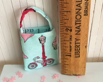 Miniature Tote Bag With Parisian Flair - Bicycle And Lamp Post On One Side And Macarons On Other Side