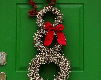 Snowman Wreath - Christmas Decoration - Holiday Wreath - Choose Bow-
