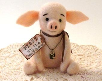 Needle Felted Pig, Vintage Look Pig, Plush Piggy, Pink Pig, Fiber Art Toy, Needle Felted Animal, Vintage Style Pig