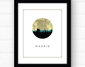 Madrid map art | Madrid skyline print | Madrid, Spain map print | Spain travel poster | Madrid print | Spain souvenir | travel print