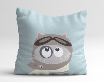 Cat aviator blue kids throw pillow, decorative pillow case, animal, cushion case, kids bedding, bedding, nursery decor, decor, kids room