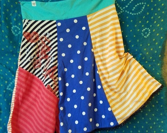 T-Skirt, L, M, S, waist, 32 waist, Stripes, polka dots, Patchwork, Upcycled t-shirts, multicolor, sweats, casual skirt