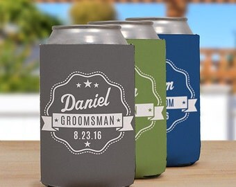Personalized Groomsmen Insulated Can Holder [insulated can holder, rubber insulation, beverage insulator, beverage container]  -gfyU1042188