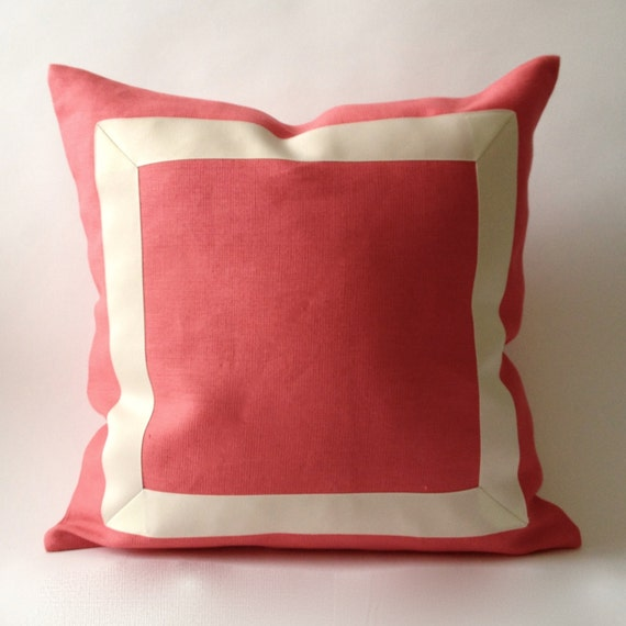 Decorative Pillow Covers 26x26 : Decorative Bolster Pillow Cover in Coral Pink by NoraQuinonez