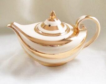 Vintage Art Deco Aladdin Teapot Gold Cream Swirl Arthur Wood England 1940s