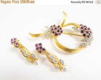 SaLe Vintage D'OrLan Amethyst Rhinestone Brooch Earrings Boucher Designer