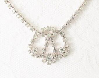 Vintage Silver Clear Rhinestone Necklace Silver Plate Wedding Bridal