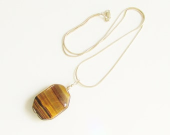 Vintage Sterling Tigers Eye Pendant Necklace Modern