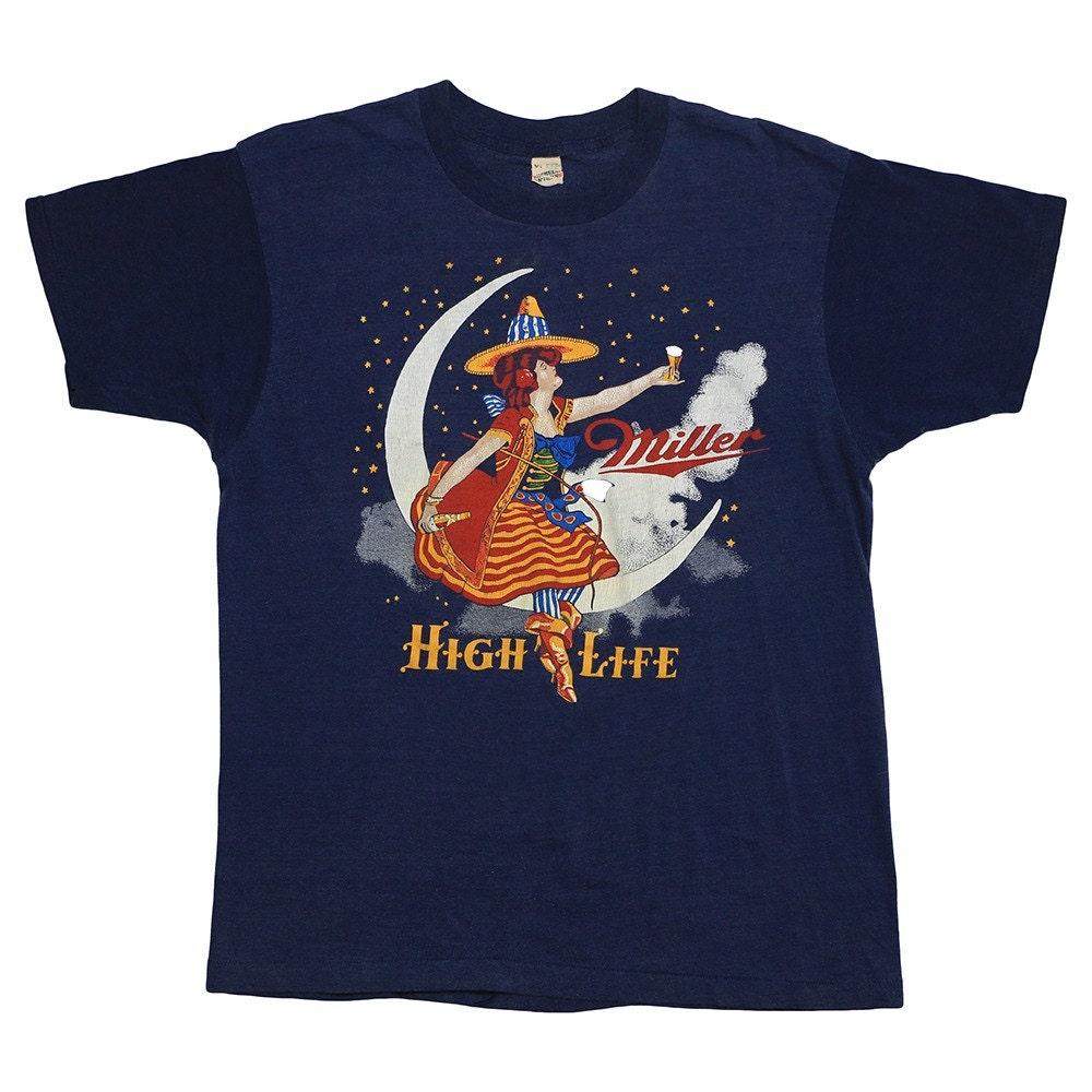 Miller High Life Beer Shirt 1980s Vintage Promo Tee 80s Rare