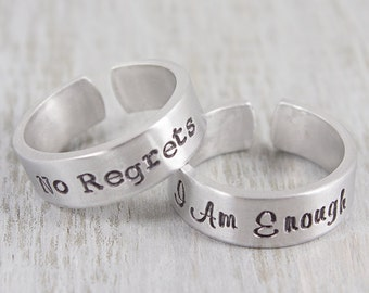 Custom Hand Stamped Ring - Personalized Jewelry - Personalized Name Ring - I Am Enough - Inspirational Jewelry - Custom Gift