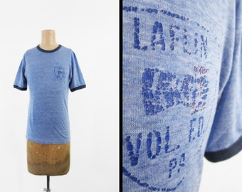 Vintage 70s Laflin PA T-shirt Fire Dept Distressed Faded Heather Blue Ringer - Small / Medium