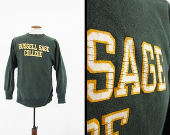 Vintage Russell Sage Champion Reverse Weave Sweatshirt Hunter Green Made in USA - Large