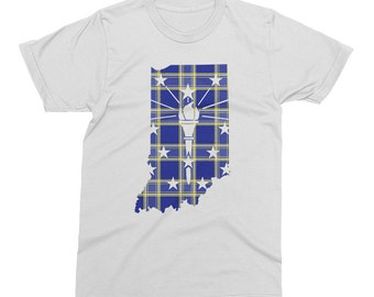 Hoosier Plaid Tshirt, Torch and Stars - Indianapolis Indiana State Flag Tshirt - Unisex Men's or Ladies' Circle City Tee