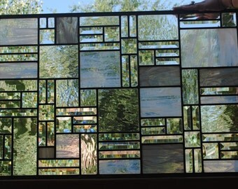 Stained Glass Window Transom - Clear Glass and Bevels Abstract