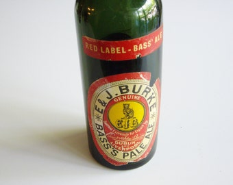 Vintage Beer Bottle, Pale Ale Bottle, E & J Burke,  Bass Co, Red Label, Bass Ale, Dublin, Liverpool, Old beer bottle, Beer Collector
