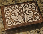 Blessed Wicca Spiral GODDESS Wood Tarot RECHARGE Jewelry Box