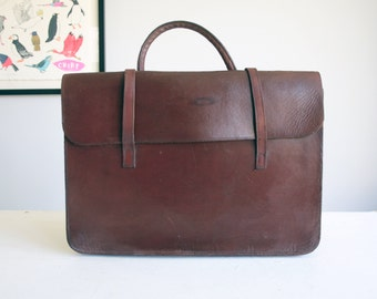 vintage brown leather sheet music attache case
