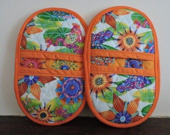 Mini Microwave Mitts-Oven Mitts-Pinchers-Multi-Color Calypso Frogs w/Orange Trim-Free Shipping