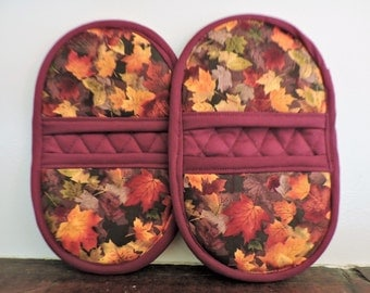 Mini Microwave Mitts-Oven Mitts-Pinchers-Autumn Leaves w/Burgundy Trim-Free Shipping