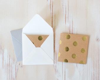 "Gold Foil Polka Dot / Brown Kraft Mini Square Folded Cards - 10 pc - 2.5"" x 2.5"""