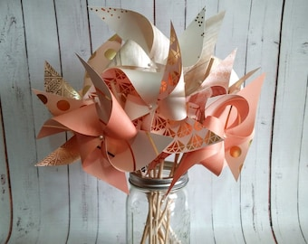 "Coral and Gold 6""  Spinning Pinwheels Set of 12"