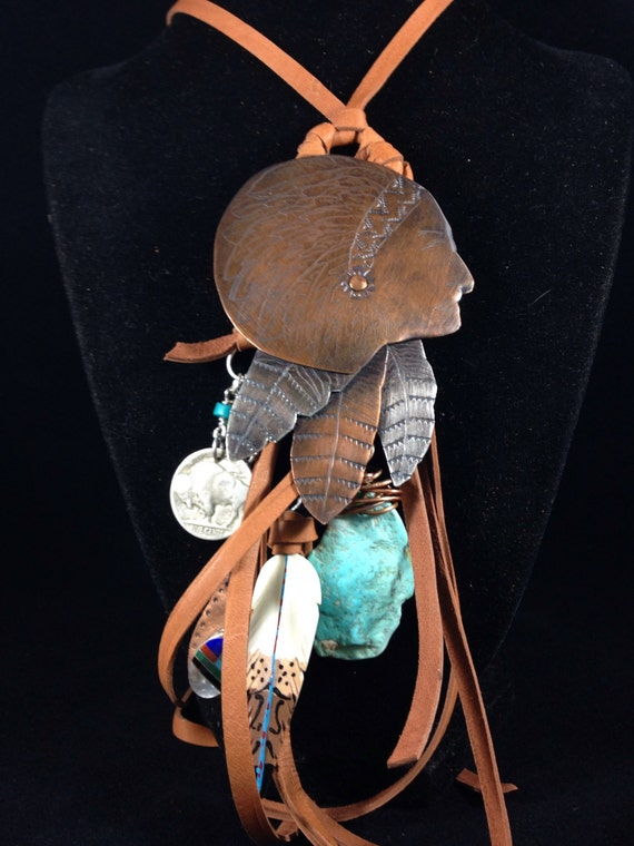 Handmade One of a kind, Chief, Turquoise, Southwestern, Cowgirl, Boho, Feather, Vintage Indian Head Coin, Purse Bling, Necklace