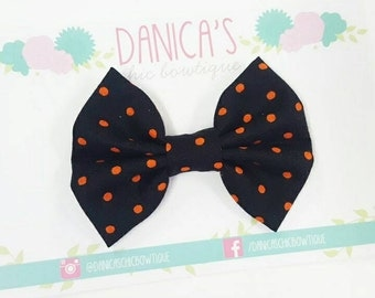 New! Halloween { Katie } black and orange clip or headband. Halloween Inspired Headband,  baby girl headband, newborn bow