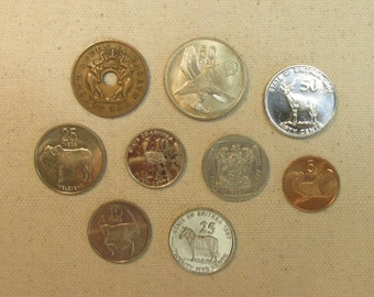 Africa 9 coin lot, interesting African coins mix, world coin group, elephant, antelope, rand, botswana