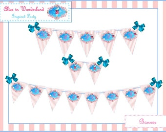 Alice in WONDERLAND BUNTING ~ BANNER ~ Printable Instant Download