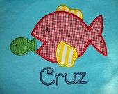 Big Fish Little Fish - Short Sleeve Appliqued Tshirt - Infant and Toddler Size Tshirt - 6 months to 5/6
