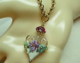 Gilded Ivory Heart Lampwork Bead Pendant Necklace With Violet Flowers
