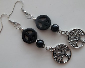 Black Peace and Tree of Life Charm- Black Pearl- Long Dangle Drop Earrings Fashion  (510)