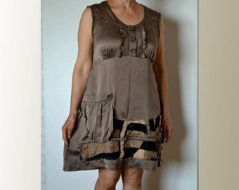 Summer dress, silk, brown, romantic dress, artsy, upcycled clothing, recycled dress