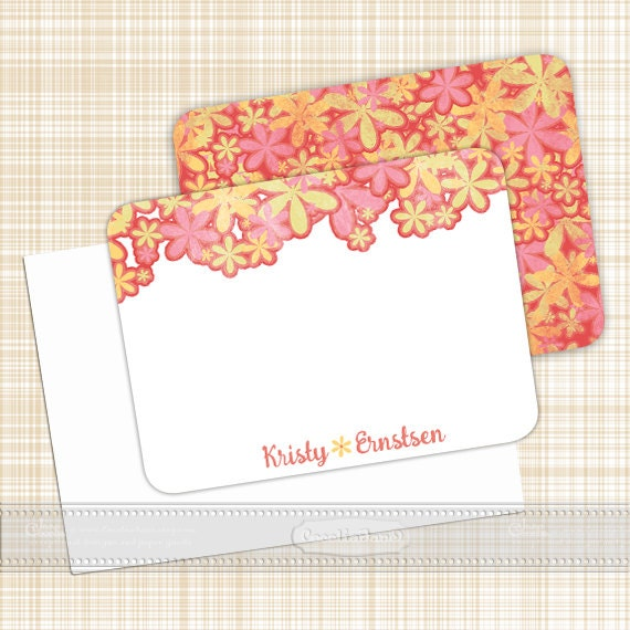 personalized notecards - set of 16 - notecard set, floral notecard set, thank you cards, girlfriend gift, personalized stationery, NS128