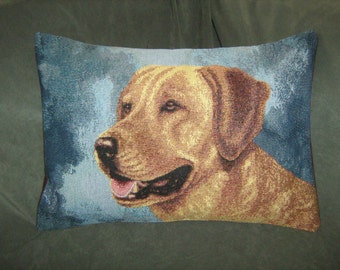 YELLOW LAB TAPESTRY Accent Travel Pillow Cover