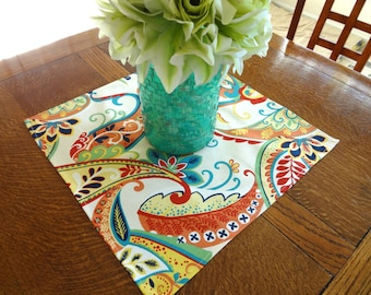 Multi Color Ivory Whimsy Table Square 17x17 Doubles as Bread Basket Liner Table Center