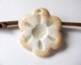 Peach Flower Pendant Stoneware Clay